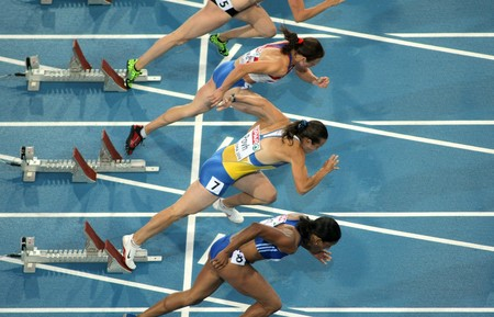 Competitors of 100m Women during the 20th European Athletics Championships at the Olympic Stadium on July 29, 2010 in Barcelona, Spain