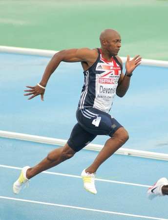 olympics: Marlon Devonish of Great Britain competes on the Men 200m during the 20th European Athletics Championships at the Olympic Stadium on July 29, 2010 in Barcelona, Spain Editorial