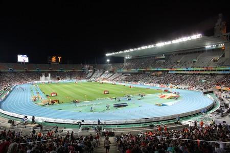finalistin: Olympiastadion von Barcelona w�hrend der 20th Leichtathletik-Europameisterschaft am Olympiastadion am 30 Juli 2010 in Barcelona, Spanien Editorial