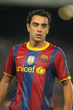 xavi: Xavi Hernandez of Barcelona during spanish league match between FC Barcelona and Sporting Gijon at Nou Camp Stadium in Barcelona, Spain. September 22, 2010 Editorial