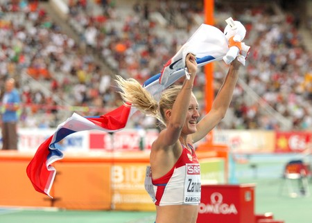 Yuliya Zarudneva of Russia celebrates gold on the Women 3000m steeplechase during the 20th European Athletics Championships at the Olympic Stadium on July 30, 2010 in Barcelona, Spain Stock Photo - 7959546