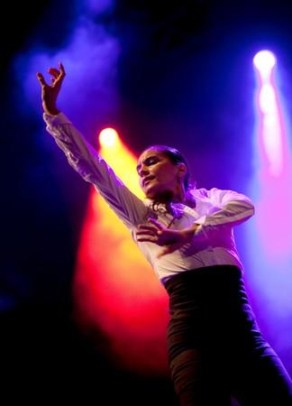 bailando flamenco: Rafaela Carrasco bailando flamenco en un concierto de homenaje al cantante de flamenco Camaron de la Isla en la Plaza de la catedral el 23 de septiembre de 2010 en Barcelona, Espa�a  Editorial