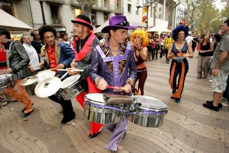 cuban culture: Dance troop in full swing Sandunga performing his show at Las Ramblas during a Festival City on September 21, 2008 in Barcelona, Spain