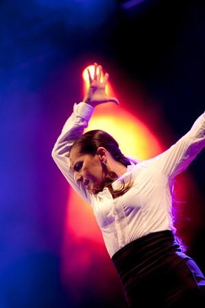 Rafaela Carrasco dancing flamenco on a tribute concert to flamenco singer Camaron de la Isla at the Cathedral Square on September 23, 2010 in Barcelona, Spain