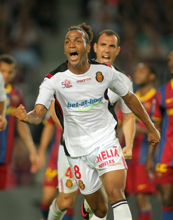 Emilio Nsue of Mallorca celebrates goal during spanish league match between FC Barcelona and RCD Mallorca at Nou Camp Stadium in Barcelona, Spain. October 3, 2010