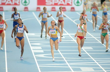 medalist: Competitors of 4X100 Relay during the 20th European Athletics Championships at the Olympic Stadium on August 1, 2010 in Barcelona, Spain Editorial