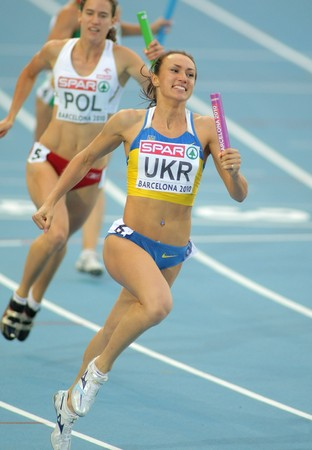 Yelizaveta Bryzhina of Ukraina competes on 4X100 Relay of the 20th European Athletics Championships at the Olympic Stadium on August 1, 2010 in Barcelona, Spain