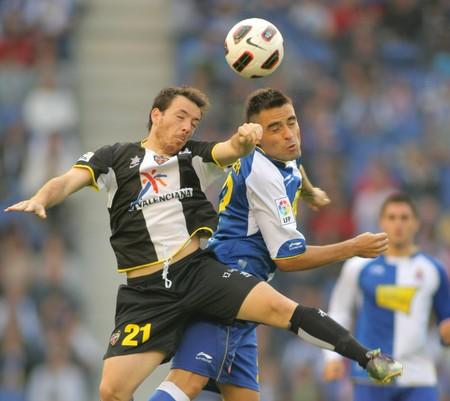 winger: Ruben(L) of Levante and Duscher(R) of Espanyol fight  during spanish league match between Espanyol and UD Levante at the Estadi Cornella on October 24, 2010 in Barcelona, Spain