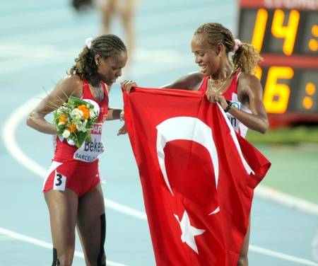 Erdogan and Bekele of Turkey celebrate victory on 5000m women final of the 20th European Athletics Championships at the Olympic Stadium on August 1, 2010 in Barcelona, Spain Stock Photo - 8525869