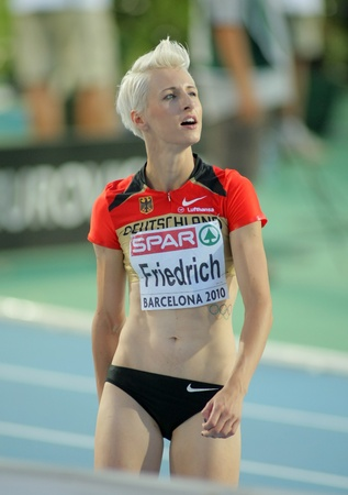 friedrich: Ariane Friedrich of Germany during High Jump Final of the 20th European Athletics Championships at the Olympic Stadium on August 1, 2010 in Barcelona, Spain