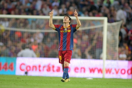 lionel: Leo Messi of FC Barcelona celebrates goal during spanish league match between FC Barcelona and RCD Mallorca at Nou Camp Stadium in Barcelona, Spain. October 3, 2010 Editorial