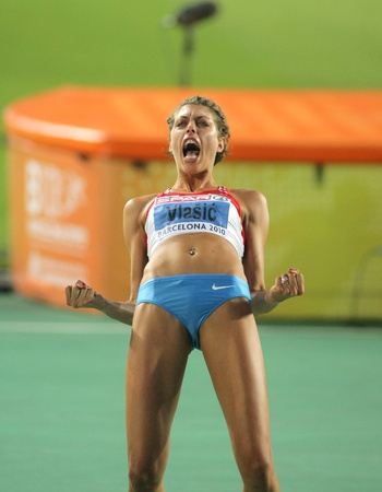 Blanka Vlasic of Croatia celebrating gold on High Jump Final of the 20th European Athletics Championships at the Olympic Stadium on August 1, 2010 in Barcelona, Spain Stock Photo - 8449210