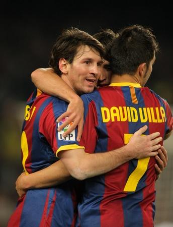 futbol: Leo Messi di Barcellona celebra obiettivo durante una partita di campionato tra FC Barcelona e Real Sociedad allo stadio Camp Nou, 12 dicembre 2010 a Barcellona, Spagna Editoriali