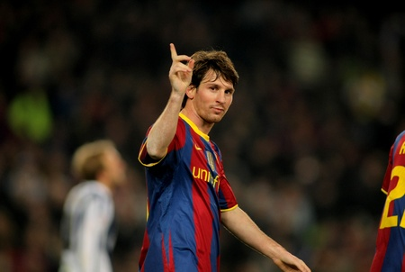 Leo Messi of Barcelona celebrates goal during a Spanish League match between FC Barcelona and Real Sociedad at the Nou Camp Stadium on December 12, 2010 in Barcelona, Spain Editorial
