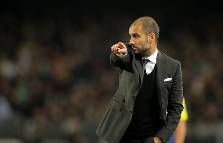 champion of spain: Josep Guardiola of Barcelona during a Spanish League match between FC Barcelona and UD Levante at the Nou Camp Stadium on January 2, 2011 in Barcelona, Spain