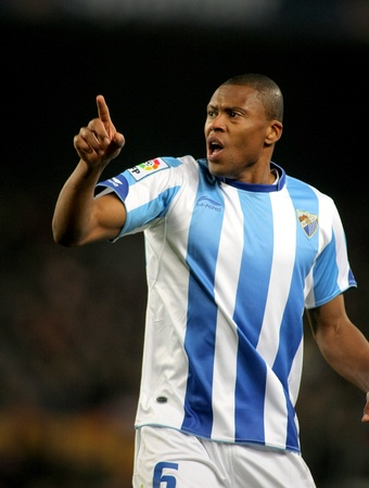 striker: Julio Baptista of Malaga during the match between FC Barcelona and Malaga CF at the Nou Camp Stadium on January 16, 2011 in Barcelona, Spain Editorial