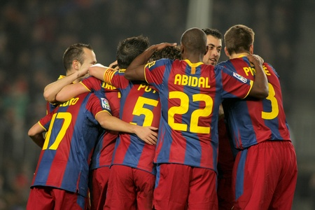 Players group of FC Barcelona during the match between FC Barcelona and Malaga CF at the Nou Camp Stadium on January 16, 2011 in Barcelona, Spain