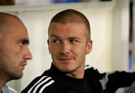 Striker: David Beckham Real Madryt w przed meczem Espanyol i Real Madryt na stadionie olimpijskim w dniu 18 wrzeÅ›nia 2004 w Barcelona, Spain