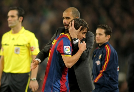 Josep Guardiola & Bojan of Barcelona during a Spanish League match between FC Barcelona and UD Levante at the Nou Camp Stadium on January 2, 2011 in Barcelona, Spain