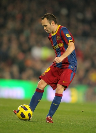iniesta: Andres Iniesta of Barcelona during a Spanish League match between FC Barcelona and UD Levante at the Nou Camp Stadium on January 2, 2011 in Barcelona, Spain