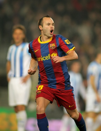 iniesta: Andres Iniesta of Barcelona celebrates goal  during the match between FC Barcelona and Malaga CF at the Nou Camp Stadium on January 16, 2011 in Barcelona, Spain