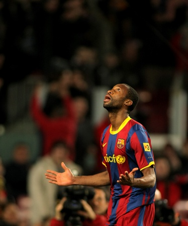 midfielder: Seydou Keita of Barcelona during a Spanish Cup match between FC Barcelona and Real Betis at the Nou Camp Stadium on January 12, 2011 in Barcelona, Spain