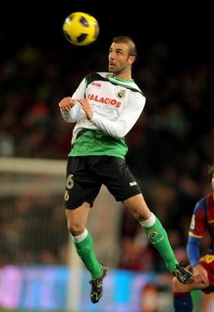 Kennedy Bakircioglu of Racing Santander during the match between FC Barcelona and Racing at the Nou Camp Stadium on January 22, 2011 in Barcelona, Spain