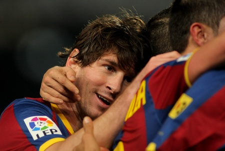 Messi of Barcelona during a Spanish Cup match between FC Barcelona and Real Betis at the Nou Camp Stadium on January 12, 2011 in Barcelona, Spain
