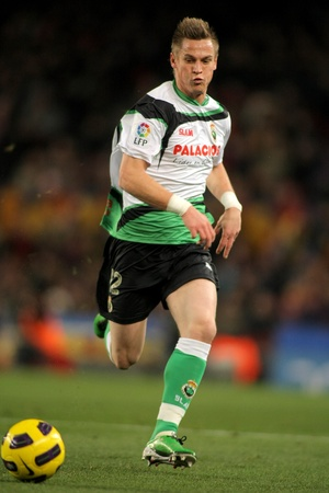 santander: Markus Rosenberg of Racing Santander during the match between FC Barcelona and Racing at the Nou Camp Stadium on January 22, 2011 in Barcelona, Spain.