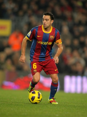 Xavi Hernandez of Barcelona during a Spanish League match between FC Barcelona and UD Levante at the Nou Camp Stadium on January 2, 2011 in Barcelona, Spain