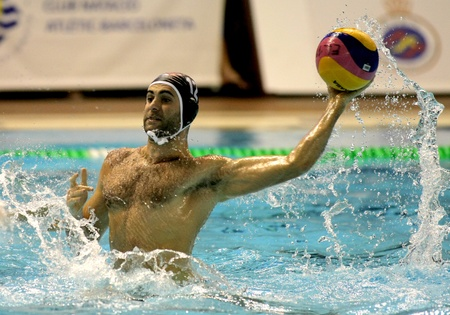 Xavi Garcia of Primorje Rijeka during the waterpolo euroleague match between Barceloneta and Primorje Rijeka at the Nova Escullera pool on January 19, 2011 in Barcelona, Spain Stock Photo - 8717514