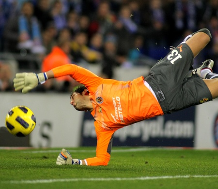 Diego Lopez of Villareal during a Spanish League match between Espanyol and Villareal at the Estadi Cornella on January 30, 2011 in Barcelona, Spain
