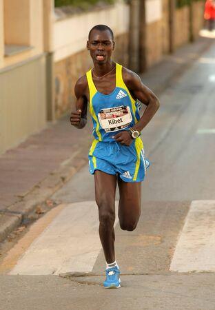 Kenyan marathon runner Eric Kibet, running during Granollers Half Marathon at Granollers on February 6, 2011 in Barcelona, Spain.