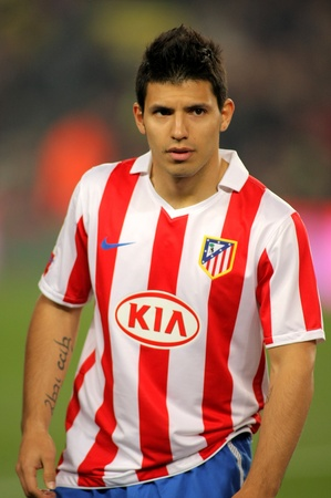 Kun Aguero of Atletico Madrid during the match between FC Barcelona and Atletico Madrid at the Nou Camp Stadium on February 5, 2011 in Barcelona, Spain