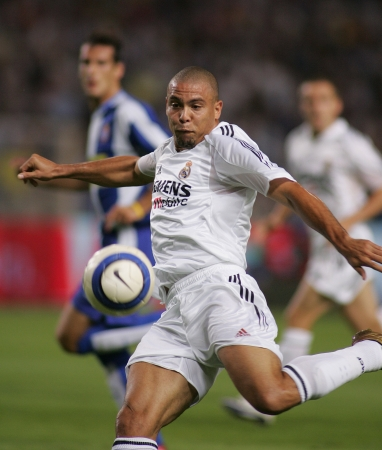 Brazilian player Ronaldo of Real Madrid in action during the match between Espanyol and Real Madrid at the Olympic Stadium on September 18, 2004 in Barcelona, Spain