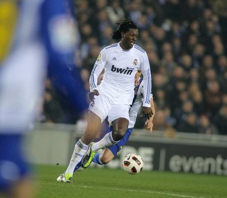 emmanuel: Emmanuel Adebayor of Real Madrid during a spanish league match between Espanyol and Real Madrid at the Estadi Cornella on February 13, 2011 in Barcelona, Spain Editorial