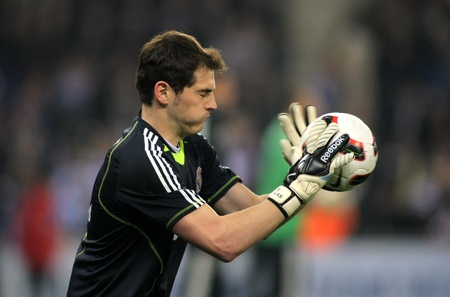 Casillas of Real Madrid during a spanish league match between Espanyol and Real Madrid at the Estadi Cornella on February 13, 2011 in Barcelona, Spain
