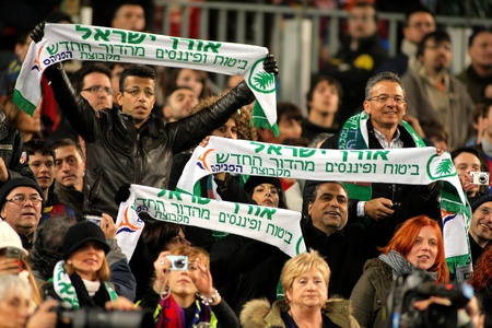 maccabi: Maccabi Haifa F.C. supporters in Barcelona during the match between FC Barcelona and Athletic de Bilbao at the Nou Camp Stadium on February 20, 2011 in Barcelona, Spain Editorial