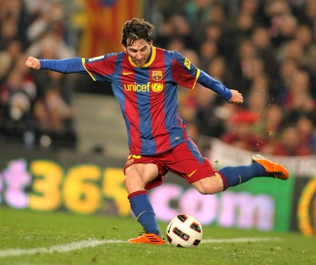 Messi of Barcelona in action during the match between FC Barcelona and Athletic de Bilbao at the Nou Camp Stadium on February 20, 2011 in Barcelona, Spain