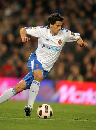 midfielder: Jorge Lopez of Zaragoza during the match between FC Barcelona and Real Zaragoza at the Nou Camp Stadium on March 5, 2011 in Barcelona, Spain