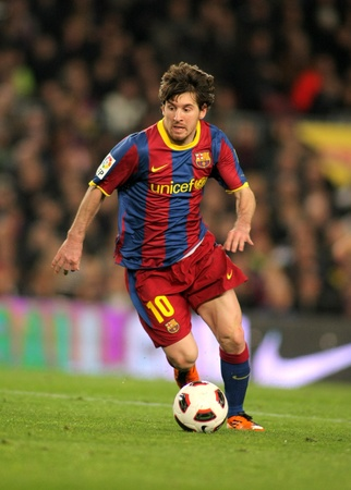 Leo Messi of Barcelona during the match between FC Barcelona and Real Zaragoza at the Nou Camp Stadium on March 5, 2011 in Barcelona, Spain