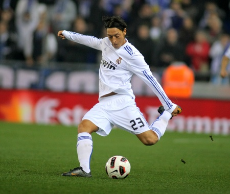 the turks: Mesut Ozil of Real Madrid during a spanish league match between Espanyol and Real Madrid at the Estadi Cornella on February 13, 2011 in Barcelona, Spain