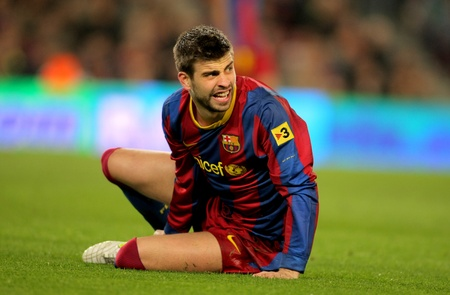 Gerard Pique of Barcelona during the match between FC Barcelona and Real Zaragoza at the Nou Camp Stadium on March 5, 2011 in Barcelona, Spain Stock Photo - 9036309
