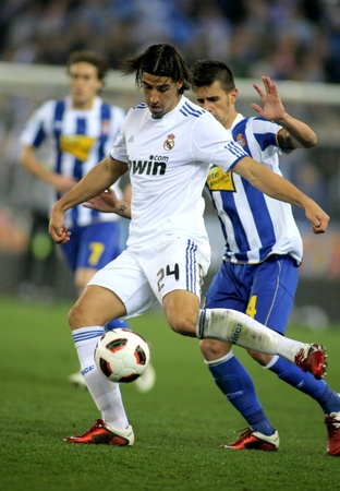 Sami Khedira of Real Madrid during a spanish league match between Espanyol and Real Madrid at the Estadi Cornella on February 13, 2011 in Barcelona, Spain