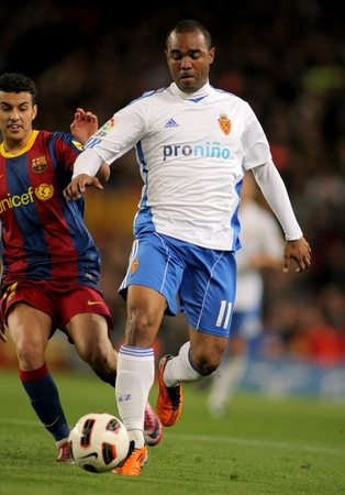 Sinama Pongolle Zaragoza during the match between FC Barcelona and Real Zaragoza at the Nou Camp Stadium on March 5, 2011 in Barcelona, Spain Stock Photo - 9036307