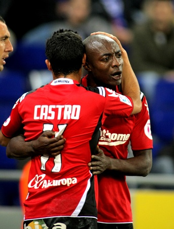 pierre: Pierre Webo of Mallorca celebrates goal during the match between Espanyol and Real  Mallorca at the Estadi Cornella on March 1, 2010 in Barcelona, Spain