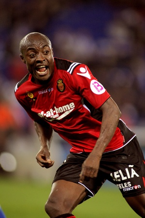 Pierre Webo of Mallorca in action during the match between Espanyol and Real  Mallorca at the Estadi Cornella on March 1, 2010 in Barcelona, Spain