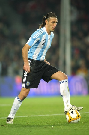 Argentinian player Martin Demichelis in action during the friendly match between Catalonia vs Argentina at Camp Nou Stadium Dec. 22, 2009 in Barcelona
