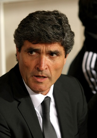 Juande Ramos manager of Real Madrid during Spanish league match between Espanyol and Real Madrid at the Montjuic Olympic Stadium on February 28, 2009 in Barcelona, Spain