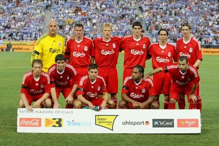 premier league: Liverpool FC team before a friendly match against RCD Espanyol at the Estadi Cornella-El Prat on August 2, 2009 in Barcelona, Spain